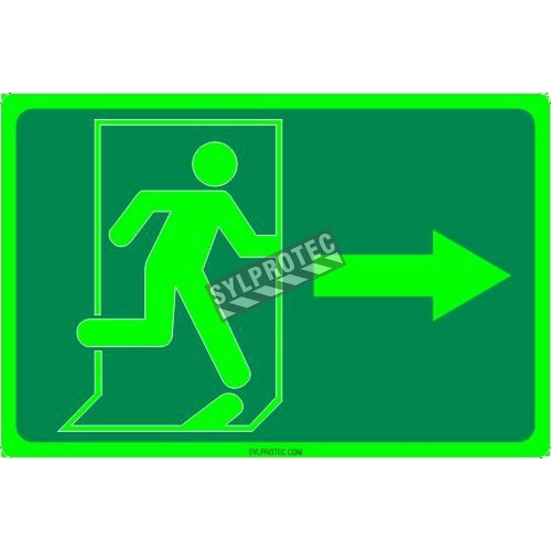 Photo luminescent pictogram sign running man with right arrow in various sizes shapes materials