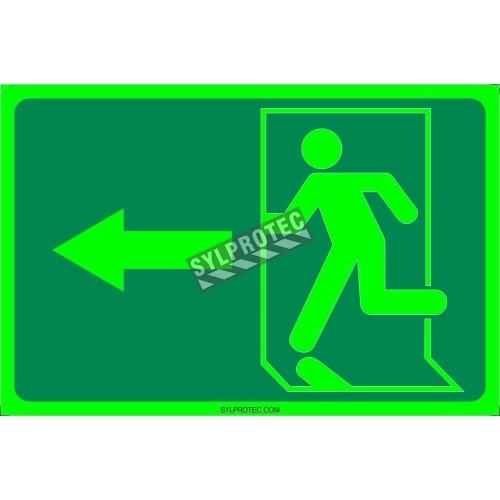 Affiche Sortie pictogramme photoluminescent running man avec flèche à gauche choix formats matériaux et formes