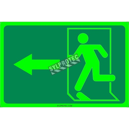 Photo luminescent pictogram sign running man with left arrow in various sizes shapes materials