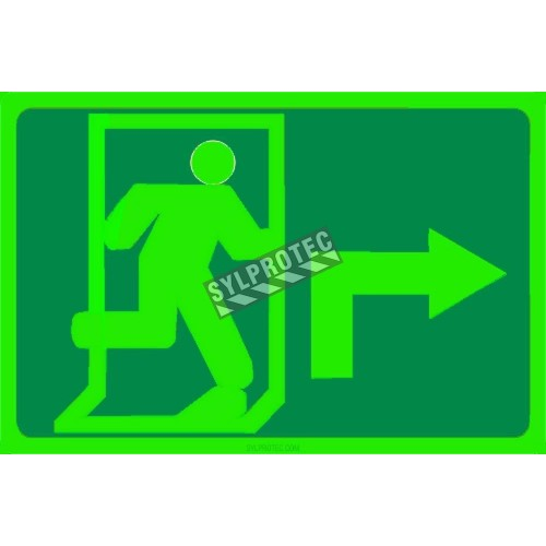 Photo luminescent pictogram sign running man with 90 degree right arrow in various sizes shapes materials