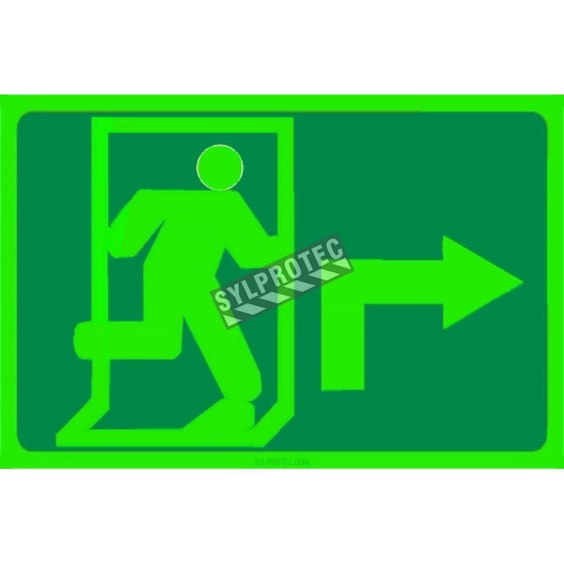 Affiche Sortie pictogramme photoluminescent running man avec flèche 90 degré a droite choix formats matériaux et formes