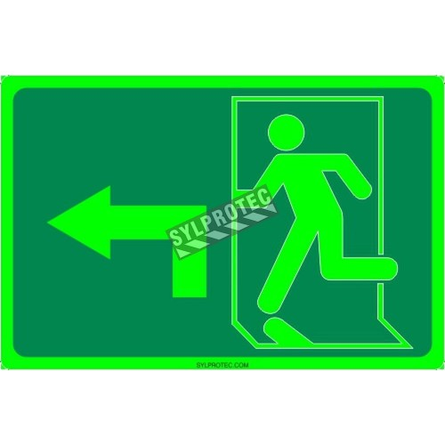 Photo luminescent pictogram sign running man with 90 degree left arrow in various sizes shapes materials