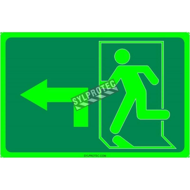 Affiche Sortie pictogramme photoluminescent running man avec flèche 90 degré à gauche choix formats matériaux et formes