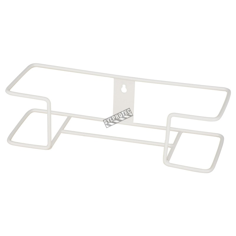 Clear acrylic glove box holder with 2 vertical bins, for wall mounting or table mounting.