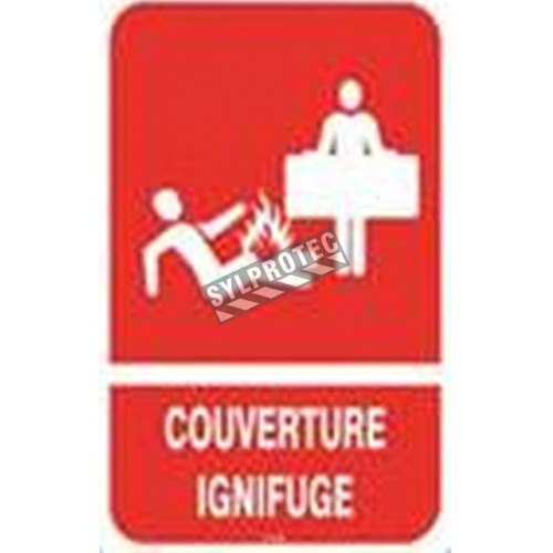 """French emergency """"fire blanket"""" sign in various sizes, shapes, materials & languages  and optional features"""