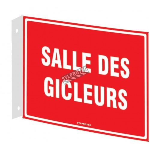 Affiche d'urgence et d'incendie «Salle des gicleurs» en divers formats, matériaux, langues & options