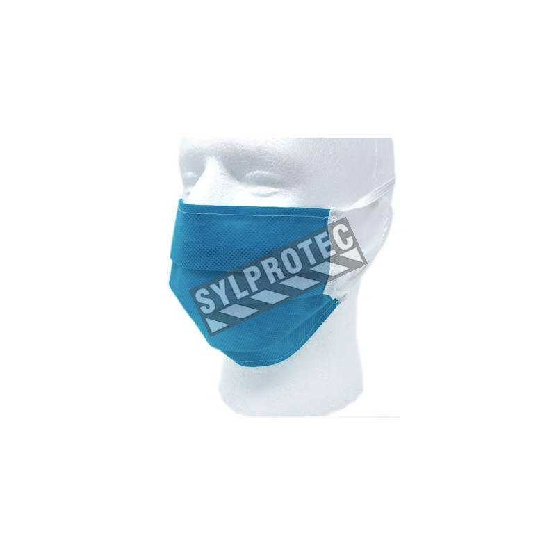 Non-certified Polypropylene mask washable with an elastic band made in Quebec available online at Sylprotec.com