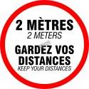 Adhesive anti-skid laminated vinyl floor sign 18 in., Keep your distances