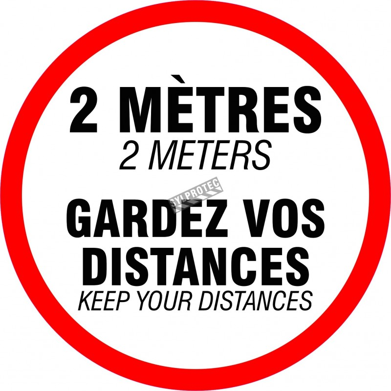 Adhesive anti-skid laminated vinyl floor sign 18 in., Keep your distances  available online on sylprotec.com