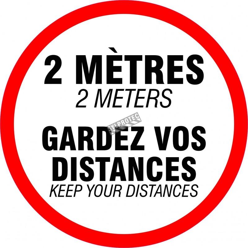 """Affiche de sol ronde gardez vos distances en autocollant laminé antidérapant.  diamètre 18"""" disponible pour achat en ligne sur s"""
