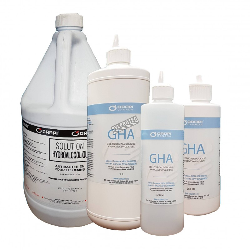 Hydroalcoholic solution for hand disinfection 75% isopropyl alcohol  made in Canada