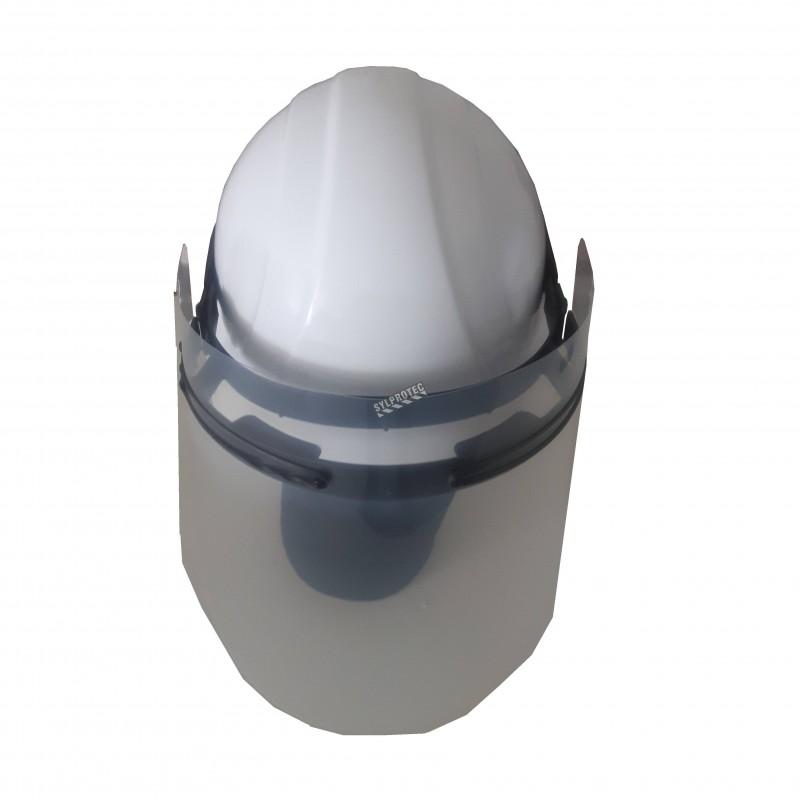 Construction helmet visor and visor holder set made in Quebec