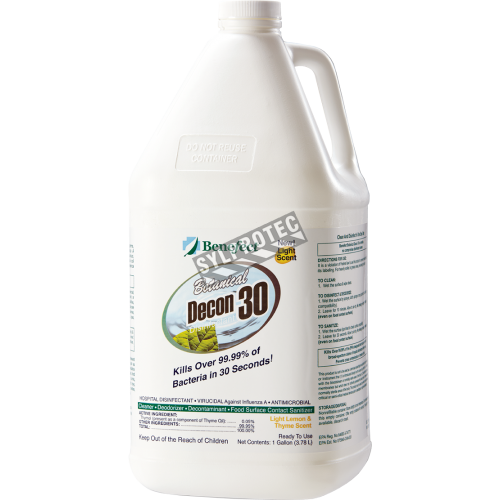 Decon 30 disinfectant with thyme oil effective against mold, bacteria viruses 1 gal US bottle