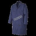 Sarrau de laboratoire bleu fait de 65% polyester et de 35% coton.