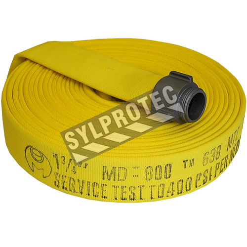 Permatek yellow fire hose with double jacket, 2.5 in x 50 ft, with aluminium coupling.
