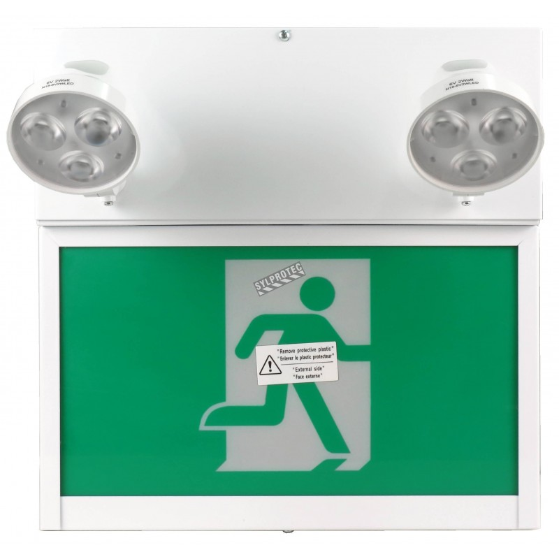 Combo LED emergency exit sign with green Running Man and 2 spotlights, steel casing, with back-up battery