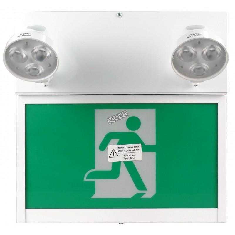 Unité d'éclairage d'urgence combo avec pictogramme vert «personne qui court» et 2 phares DEL, boîtier en métal, batterie incluse