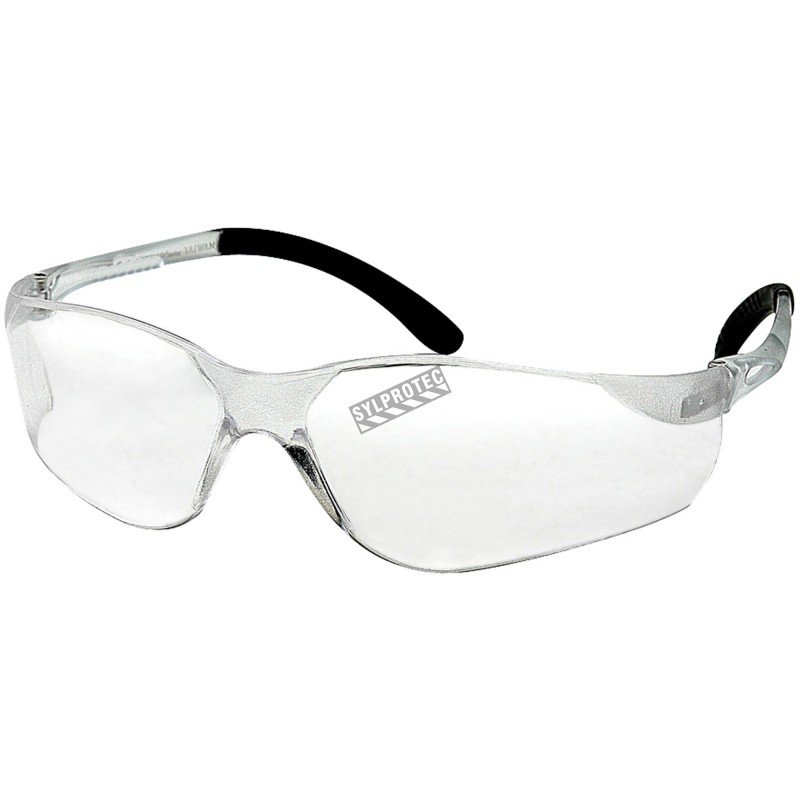 Sen Tec protective eyewear, clear polycarbonate lenses approved CSA for impact protection.
