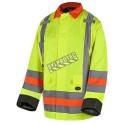 Manteau d'hiver haute visibilité pour signaleur, conforme à la norme de Transports Québec.