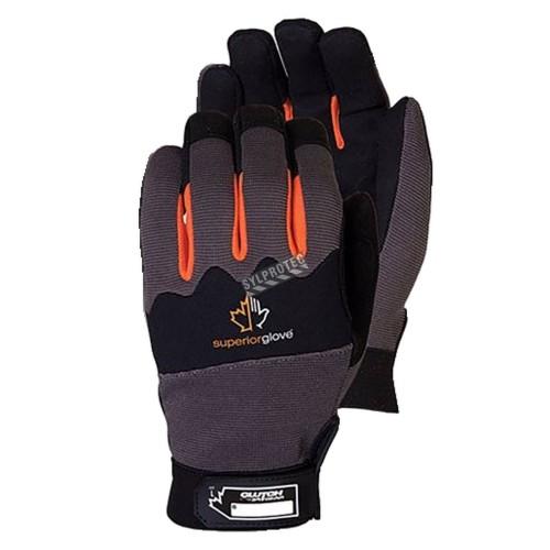 Gant imperméable de mécanicien Clutch Gear® en micro-suède, en nylon & en néoprène. Taille: X-petit (6) à XX-large (11).