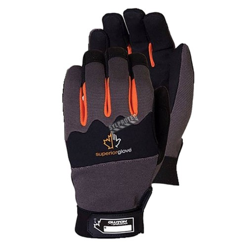 Superior Clutch Gear® micro-suede, nylon & neoprene water-repellent gloves for mechanics. Size: X-small (6) to XX-large (11).