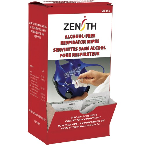 Serviette nettoyante sans alcool pour masque de protection respiratoire, 100 par boite.