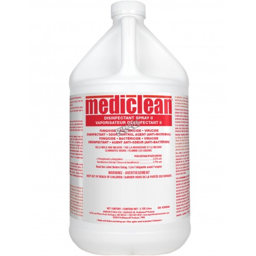 Désinfectant Mediclean à alcool isopropylique pour la décontamination de moisissures, bactéries & virus. 1 gal US/bouteille.