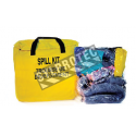 Universal vehicle spill kit for non-corrosive fluids, overpacked in a resealable carry bag.