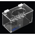 Clear acrylic hairnet dispenser with flat hinged lid and top opening, for wall mounting or table mounting.