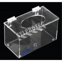 Distributeur en acrylique transparent avec couvercle plat et ouverture dans le haut pour filets à cheveux.