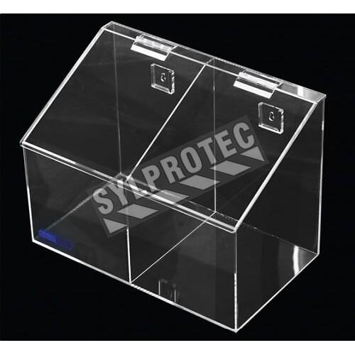 Distributeur en acrylique transparent à 2 compartiments avec couvercle incliné pour filets à cheveux.