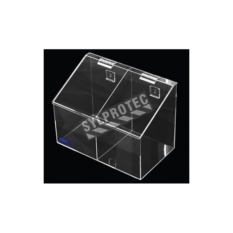 Clear acrylic hairnet dispenser with 2 bins and slanted hinged lid, for wall mounting or table mounting.