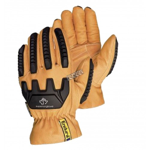 Impact-resistant goatskin leather driver gloves lined with Kevlar® and Thinsulate, sold by pair