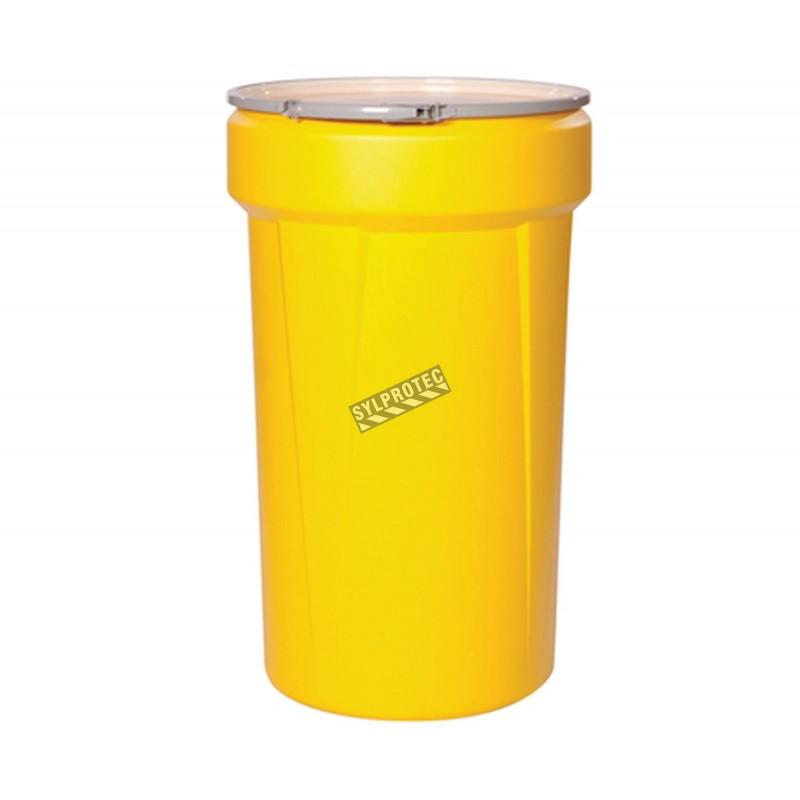 Grand ensemble universel pour déversement de produits chimiques non corrosifs, 55 gallons, dans un baril refermable.