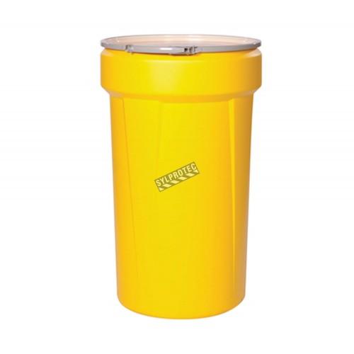 Grand ensemble pour déversement de produits chimiques corrosifs ou dangereux, 55 gallons US, dans un baril refermable.
