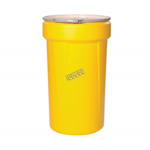 Large HazMat chemical spill kit for corrosive or hazardous fluids, 55 US gallons, overpacked in drum with screw lid.