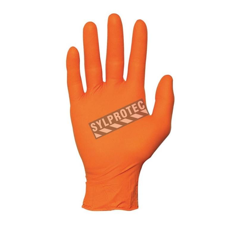 Gants en nitrile orange de 5 mils, sans poudre. Tailles M (8) à XXL (11). Boîte de 100 gants.