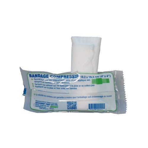Sterile compress bandage, 4 x 4 in, sold individually.