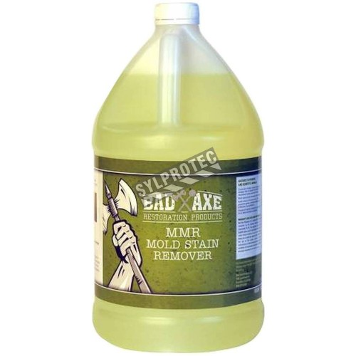 MMR heavy duty mold stain remover with sodium hypochlorite for mold stain removal. 1 gal US bottle.