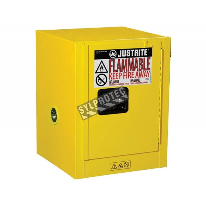 Flammable liquids storage cabinets 4 gallons, approved by FM, NFPA and OSHA.,