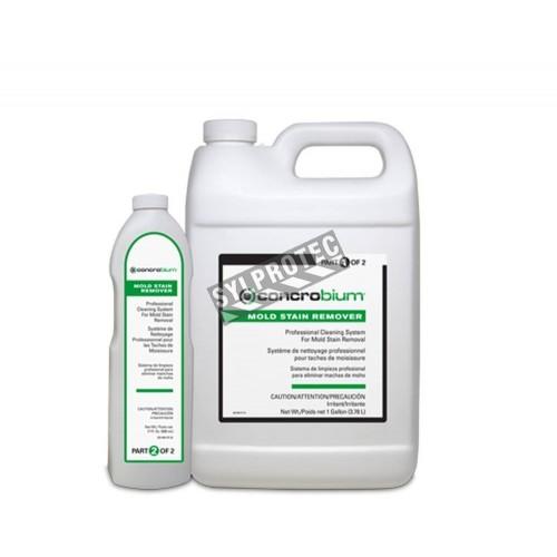 Détachant Mold Stain Remover en deux étapes à base d'acide peracétique pour décontamination de moisissures. Vendu par ensemble.