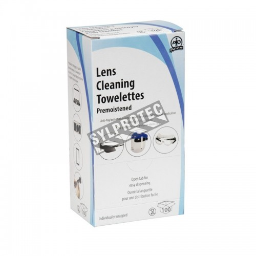 Lens cleaning wipe with anti-fog  pk/100 units.