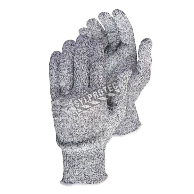 Cut-resistant A5 SureKnit® Dyneema®, Spandex & stainless steel knit touchscreen friendly glove. CFIA approved. Sold in pairs.