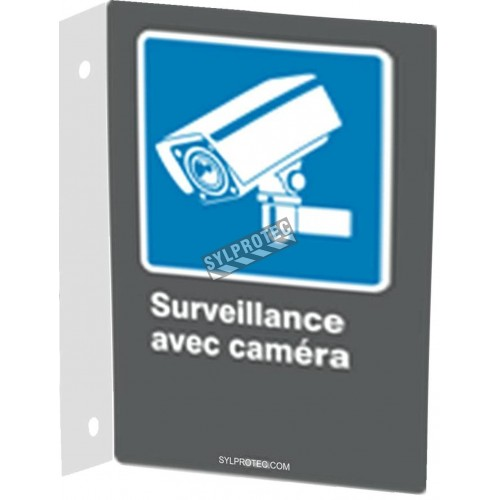 "French CDN ""Surveillance with camera"" sign in various sizes, shapes, materials & languages + optional features"