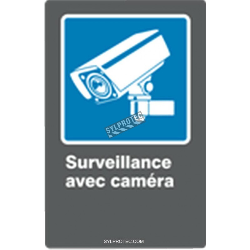 """French CDN """"Surveillance with camera"""" sign in various sizes, shapes, materials & languages + optional features"""