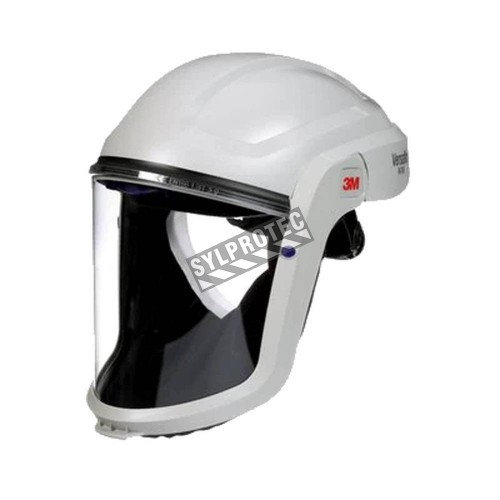 3M facepiece with basic hard hat for respiratory protection system in factories where hard hats are not required.