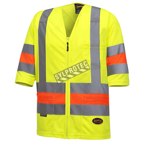 High-visibility shirt for roadwork flaggers, compliant with new Transports Québec regulation.