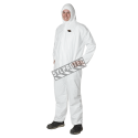 White disposable antistatic coveralls, type 5 sold by unit