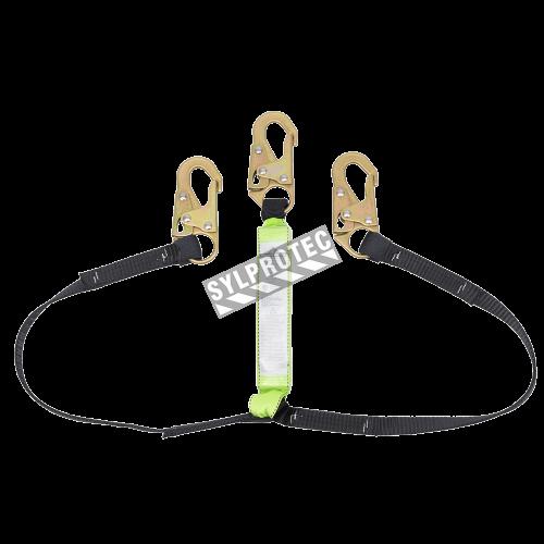 Longe tubulaire  E4 en «Y» par Peakworks avec cordon amortisseur et 2 mousquetons pour échafaudage.