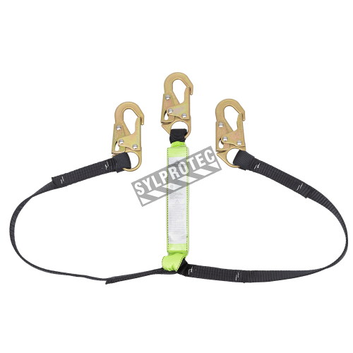 E4 Peakworks extendable Y-lanyard with an energy absorbing inner core and a strong polyester tubular webbing.